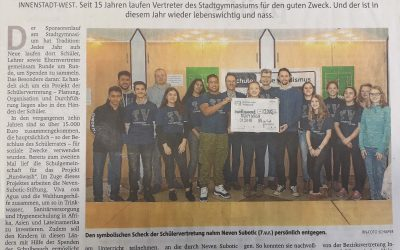 Ruhrnachrichten berichten über Spendenübergabe an Neven Subotic Stiftung