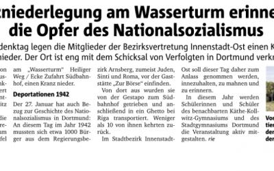 Schüler des StGs wirken bei Kranzniederlegung zum Gedenken der Opfer des Nationalsozialismus mit
