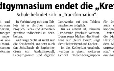 Ruhrnachrichten berichten über digitale Präsentationsmedien am StG