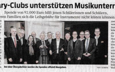 """Zuwendungen der Dortmunder Rotary-Clubs im Rahmen des Projekts """"Musik macht stark"""""""
