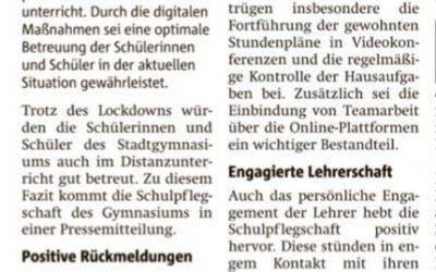 Lob für Onlineunterricht am StG